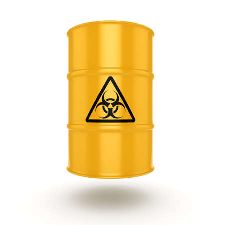 lethal: 3D rendering yellow barrel with biologically hazardous materials Stock Photo