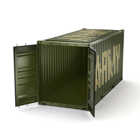 khaki: 3D rendering ship khaki container labeled Army