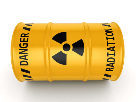 3D rendering Yellow radioactive barrel on a white background Stock Photo