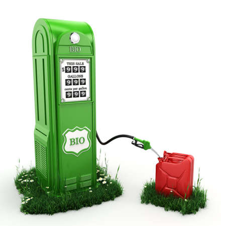 biofuel: 3D rendering of biofuel filling station in retro style