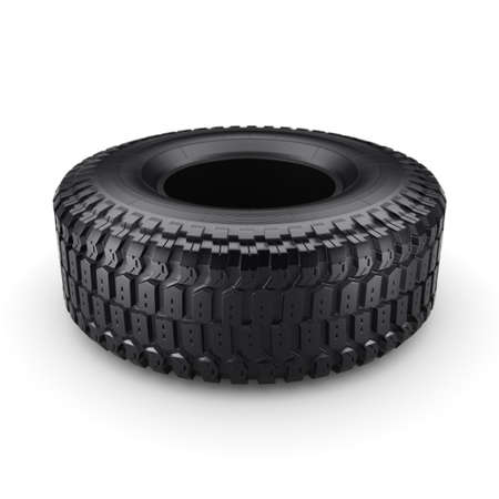 truck tire: 3D rendering truck tire on a white background Stock Photo