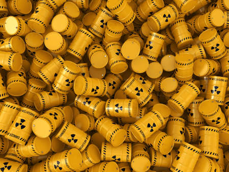 3D rendering Yellows radioactive barrels on a white background