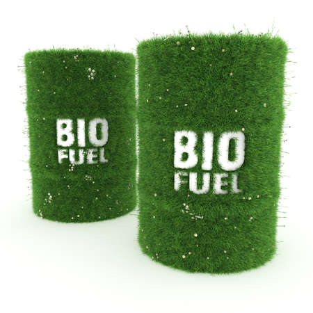fuel storage: 3D rendering barrels covered with green grass with biofuels