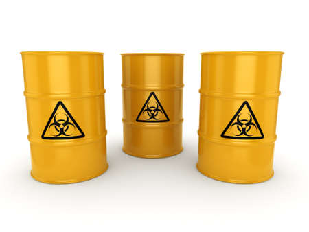 biologically: 3D rendering yellow barrels with biologically hazardous materials