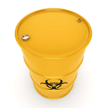 hazardous substances: 3D rendering yellow barrel with biologically hazardous materials Stock Photo