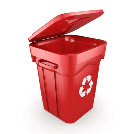 compost: 3D rendering Red Recycling Bin isolated on white background Stock Photo