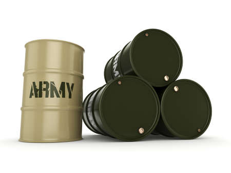 khaki: 3D rendering several army khaki barrels with the inscription