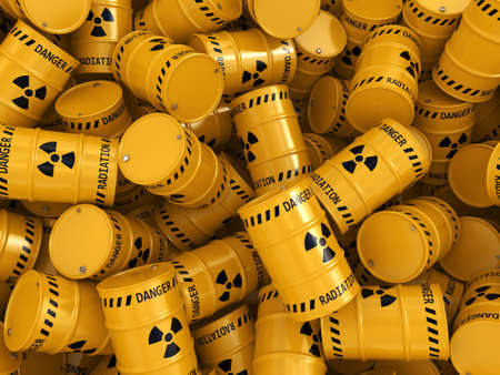 3D rendering Yellows radioactive barrels on a white background Stockfoto
