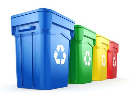 3D-rendering geïsoleerd Multicolor recycling bakken op een witte achtergrond