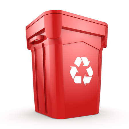 environmentalist: 3D rendering Red Recycling Bin isolated on white background Stock Photo