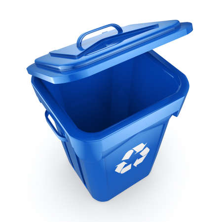 recyclable waste: 3D rendering Blue Recycling Bin isolated on white background