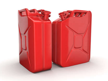 gas can: 3D rendering a pair of red cans on a white background Stock Photo