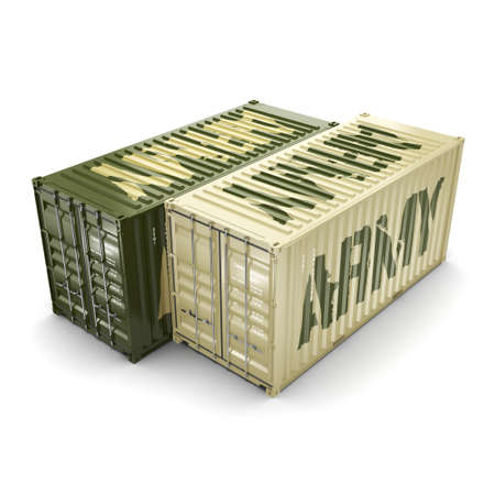 shipment: 3D rendering ship khaki containers labeled Army