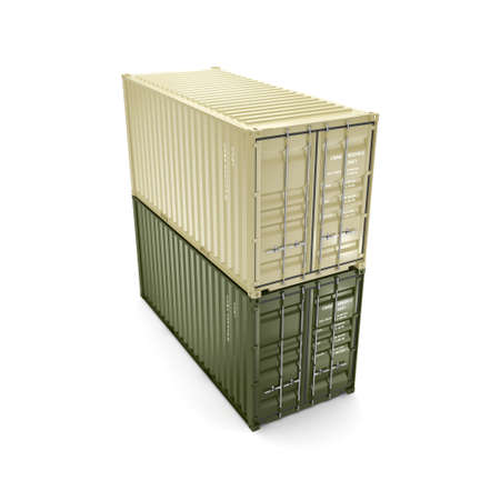 merchandize: 3D rendering containers on a white background