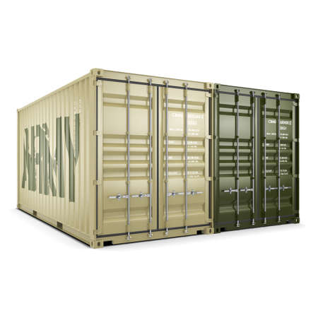 khaki: 3D rendering ship khaki containers labeled Army