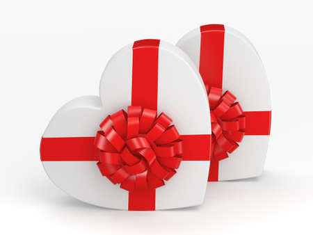 fourteenth: 3D rendering White boxes with heart shaped red ribbon