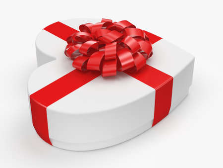 fourteenth: 3D rendering White box with heart shaped red ribbon Stock Photo