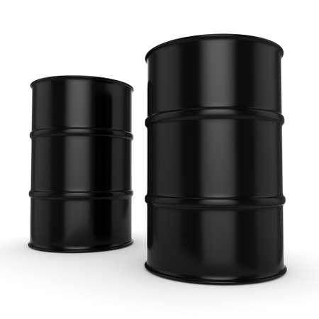 3D rendering black barrels not contain any inscriptions