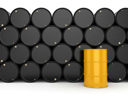 3D rendering black and yellow barrels not contain any inscriptions