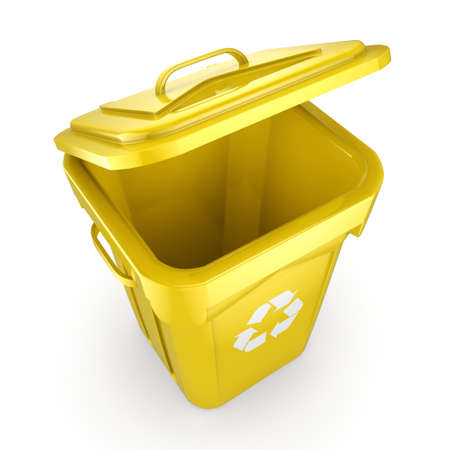 recyclable waste: 3D rendering Yellow Recycling Bin isolated on white background