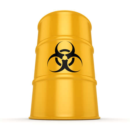 hazardous material: 3D rendering yellow barrel with biologically hazardous materials Stock Photo