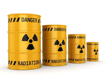 radioactive: 3D rendering Yellows radioactive barrels on a white background Stock Photo