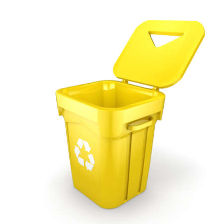 landfill: 3D rendering Yellow Recycling Bin isolated on white background