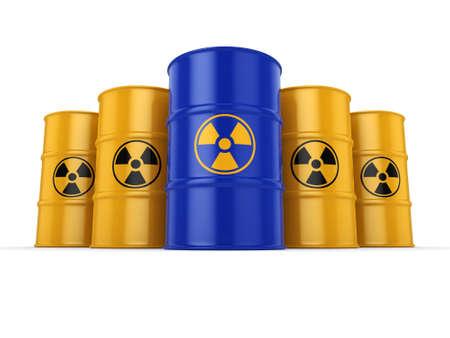 uranium: 3D rendering yellow and blue barrels with radioactive materials