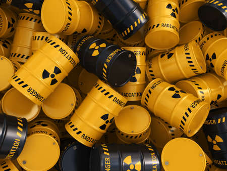 barrel radioactive waste: 3D rendering Yellow and black radioactive barrels on a white background