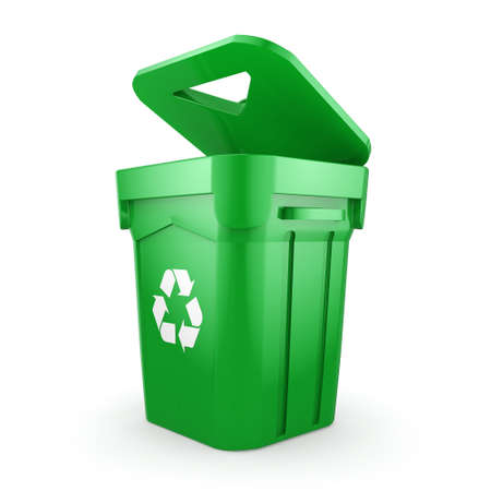 recycling bin: 3D rendering Green recycling bin isolated on white background Stock Photo