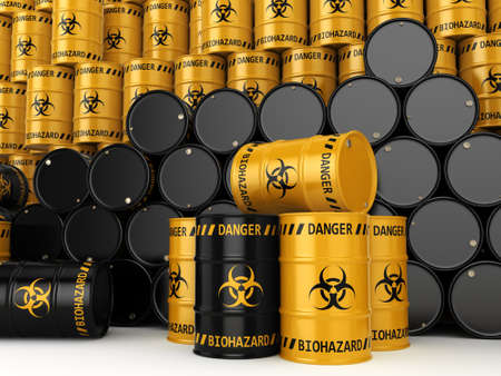 chemical hazard: 3D rendering yellow and black barrels with biologically hazardous materials