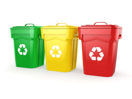dispose: 3D rendering Multicolor  recycling isolated bins on white background