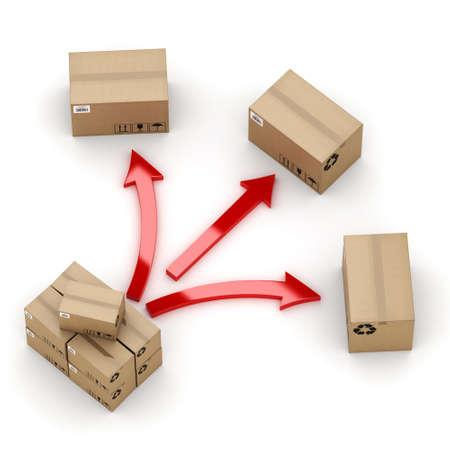 cajas de carton: Representación 3D de cajas de cartón en el proceso de distribución