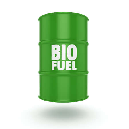 stainless: 3D rendering green barrel for biofuels with white lettering