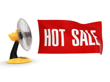 turn table: 3D rendering table fan with a banner sales Stock Photo