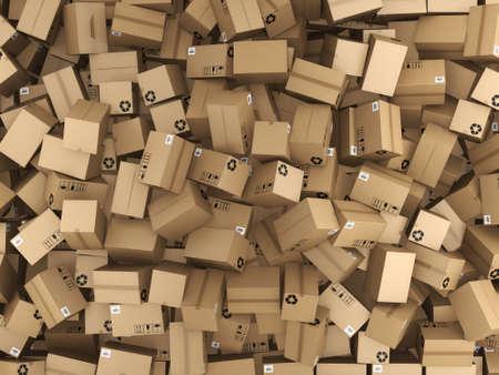 3D 렌더링 많이 골 판지 상자