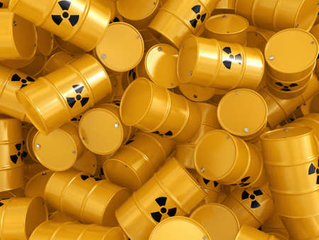 barrel radioactive waste: 3D rendering yellow barrels with radioactive materials Stock Photo
