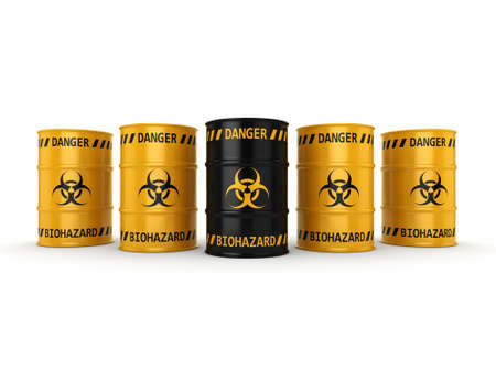 hazardous material: 3D rendering yellow and black barrels with biologically hazardous materials