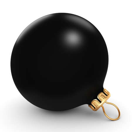 3D rendering Black mat christmas ball on  white background