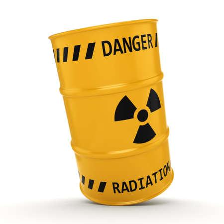 uranium: 3D rendering Yellow radioactive barrel on a white background Stock Photo