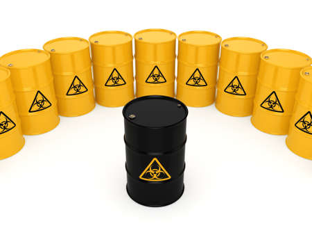 hazardous material: 3D rendering yellow barrels with biologically hazardous materials