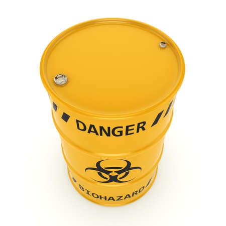 hazardous to the environment: 3D rendering yellow barrel with biologically hazardous materials Stock Photo