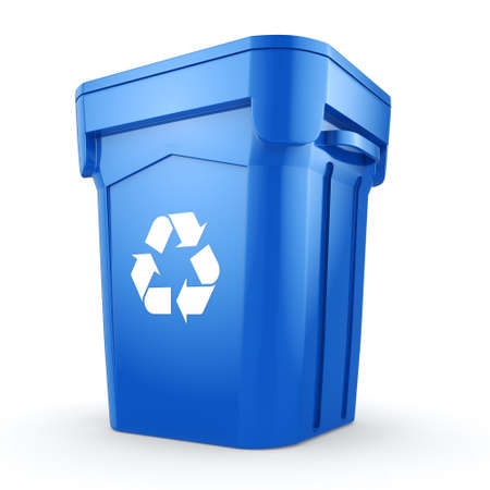dispose: 3D rendering Blue Recycling Bin isolated on white background