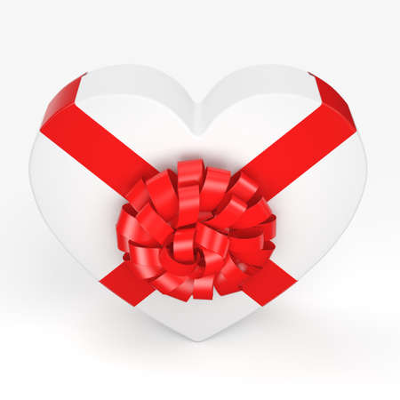 february 1: 3D rendering White box with heart shaped red ribbon Stock Photo