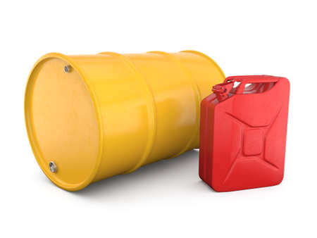 3D rendering red canister with yellow barrel