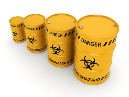 environmental disaster: 3D rendering yellow barrels with biologically hazardous materials