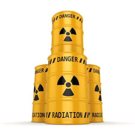yellows: 3D rendering Yellows radioactive barrels on a white background Stock Photo