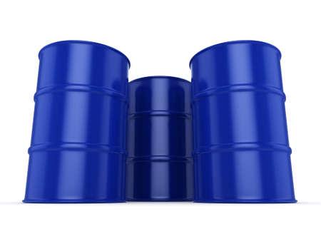 3D rendering blue barrels not contain any inscriptions