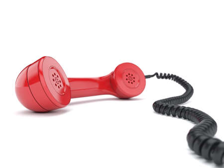 old telephone: 3D rendering of the old telephone on white background