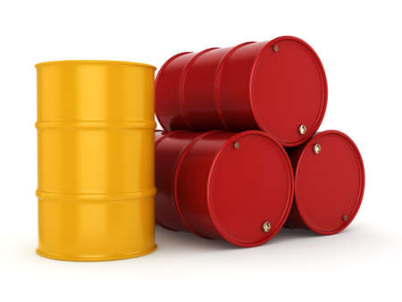 3D rendering red and yellow barrels not contain any inscriptions